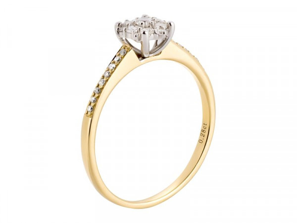 Damen-Ring, DALINO 585 Gold Solitär Ring bicolor mit 0,28 ct Diamanten
