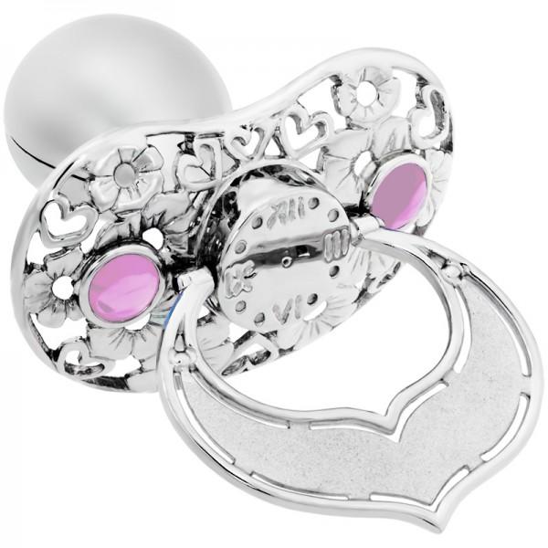 Damen-Anhänger, Lollino 925 Silber Schnuller Zirkonia-Steinchen rosa Herzen und Blumen individuell G