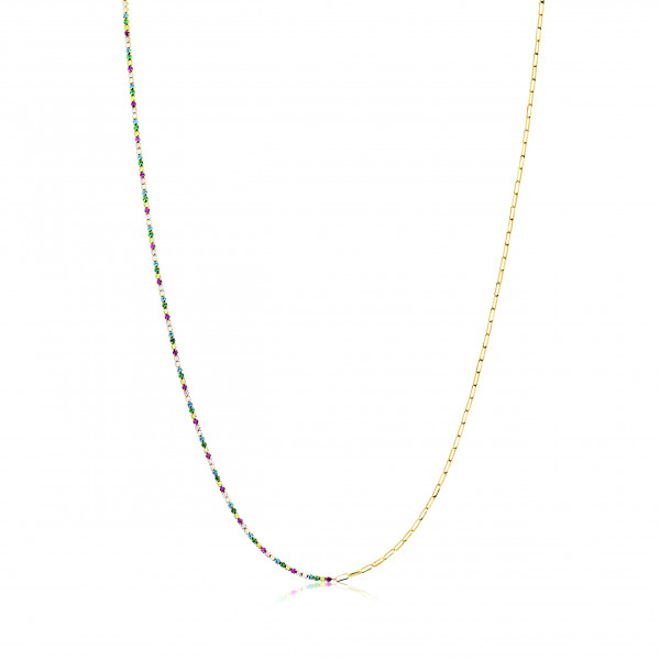 Sif Jakobs Damen Halskette Ellera 18K vergoldet mit bunten Zirkonia