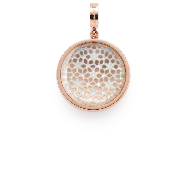 Damen-Anhänger, Leonardo Clip & Mix Edelstahl rosegoldfarbene IP-Beschichtung Perlmutt Glas-Cabochon