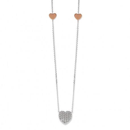 Damen-Halskette, PALIDO 585 Weißgold Collier mit Zirkonia-Steinchen 43 cm