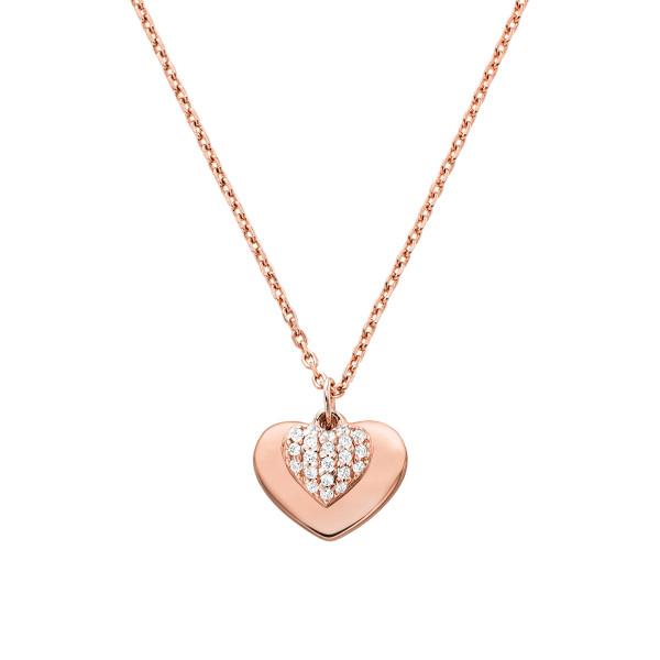 Michael Kors Damen Halskette rosévergoldet mit Zirkonia Herz Anhänger