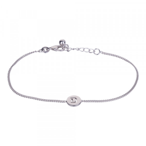 "Rhodniertes Silber Armband ""D"" 8mm 17+2cm"