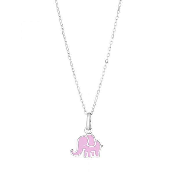 Kinderhalskette Rhod. Silber Halskette mit Elefanten Anhänger