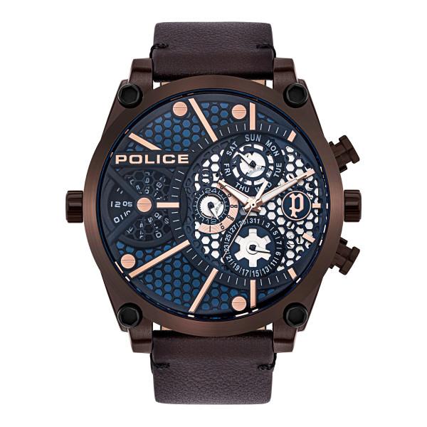 Herrenarmbanduhr, POLICE Echtlederarmband braun mit braunen Edelstahlgehäuse und Ziffernblatt Vigor