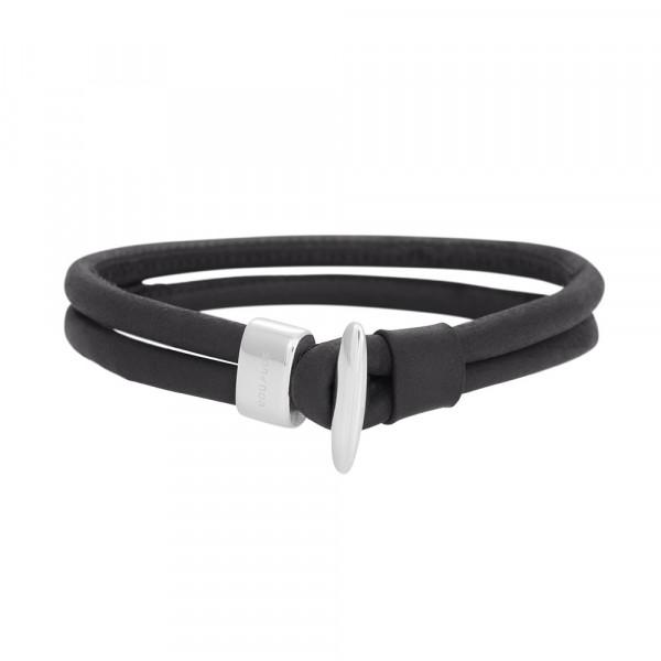 SON of NOA Herren-Armband Armband schwarzes Kalbsleder Schwarz 21 cm