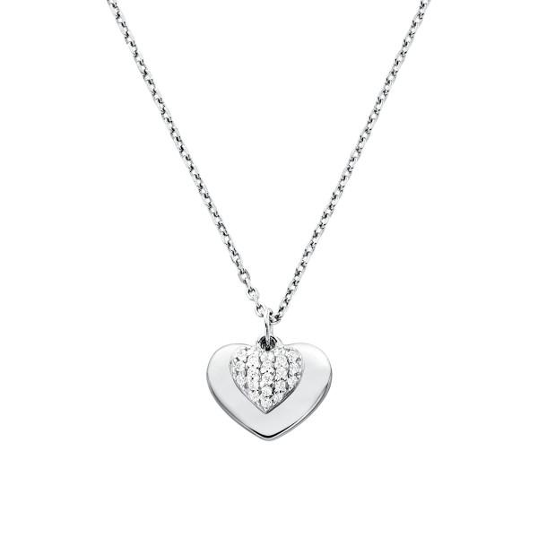 Michael Kors Damen Halskette 925er Silber mit Zirkonia Herz Anhänger