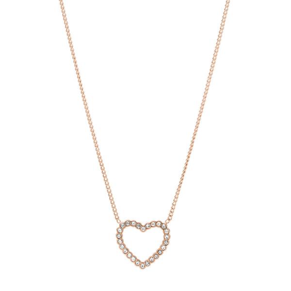 Fossil Halskette Damen Herz mit Zirkonia in Edelstahl