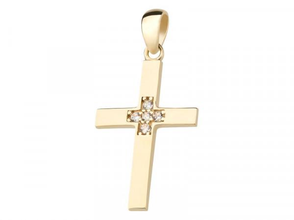 Kreuz Anhänger aus 333 Gold mit Zirkonia-Steine