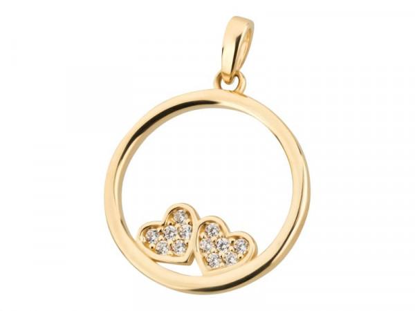 Anhänger aus 333 Gold mit Zirkonia Herzchen Kreis
