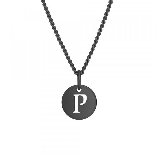 """Oxidierte Silber Halskette """"P"""" 10mm 42+3cm"""
