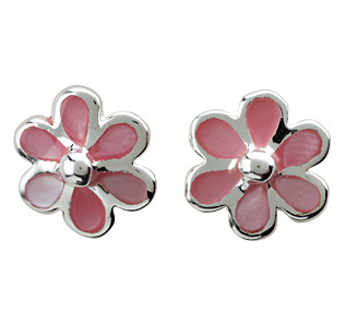 Kinder-Ohrstecker, NOA KIDS JEWELLERY silber rhod. Blume mit rosa Emaille