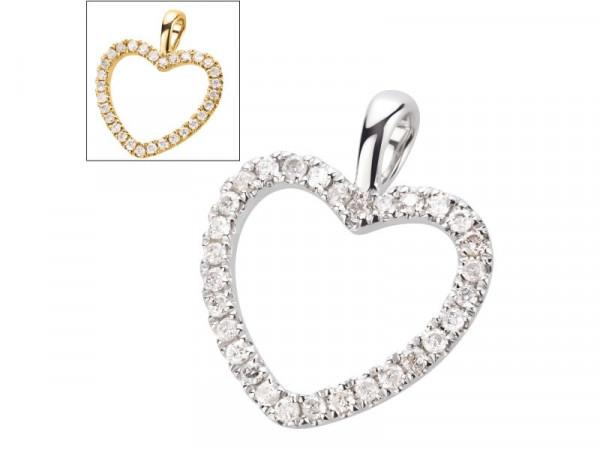 Herz Anhänger aus 585 Gold mit 0,15 ct Diamanten