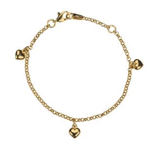 Kinder-Armband, NOA KIDS JEWELLERY 333 Gold mit 8kt Herzanhängern