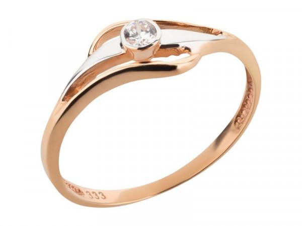 Damen-Ring, DALINO 333 gold bicolor mit Zirkonia-Stein