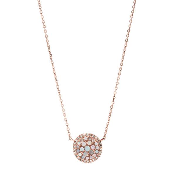 Fossil Halskette Damen Pearl Disc in Rosévergoldeten Edelstahl