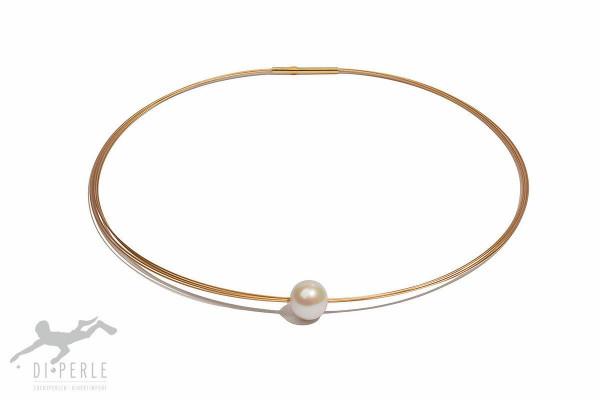 Perlen Edelstahlreif Gold 10-11 mm mit Vollperle