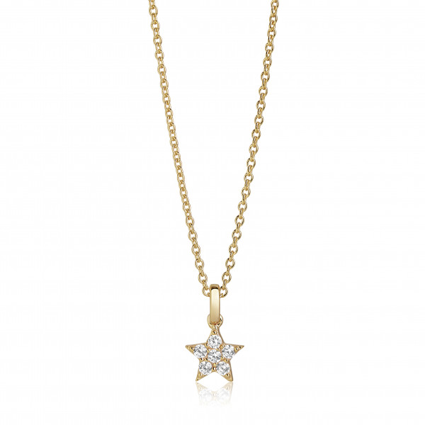 Sif Jakobs Damen Halskette Mira Stern 18K vergoldet mit weißen Zirkonia