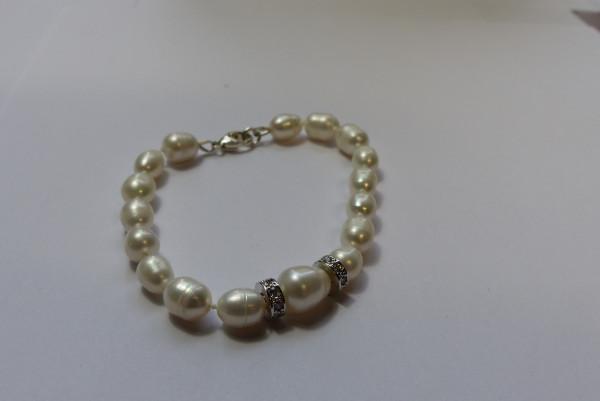 Perlenarmband Damen Süßwasserperlen mit Zirkonia