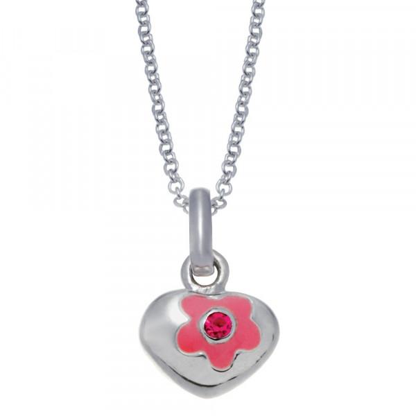 Kindehlaskette Rhodinierte Silber Halskette Herz und Blume