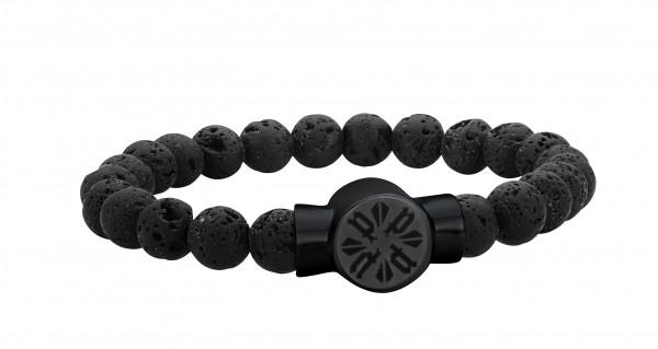 Herren-Armband, POLICE P-Circle Lavastein Edelstahl schwarz