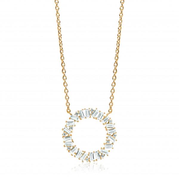 Sif Jakobs Damen Halskette Antella Circolo Grande 18K vergoldet mit weißen Zirkonia