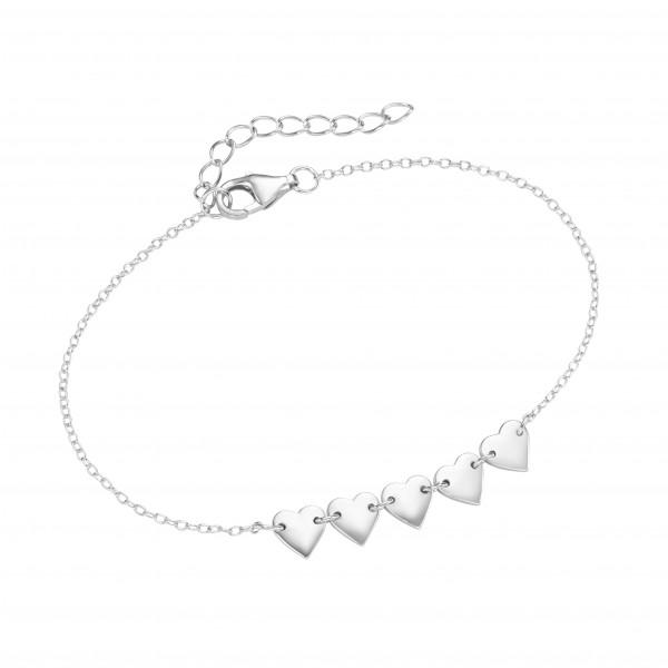 Da-lino Armband in 925 Silber mit Herzen