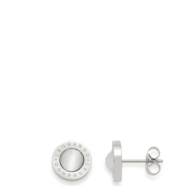 LEONARDO Damen-Ohrringe Ohrstecker Matrix weiß