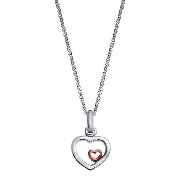 Rhodinierte Silber Halskette Herzen 1 rosé verg.