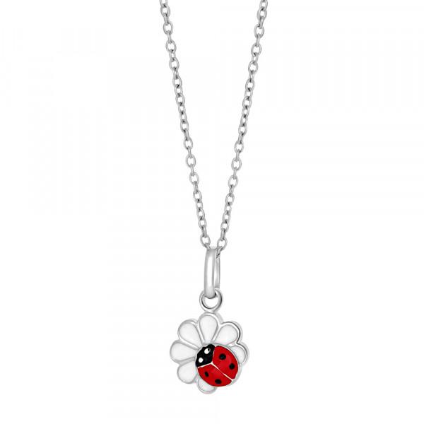 Kinder-Halskette Rhod. Silber Blume mit Marienkäfer