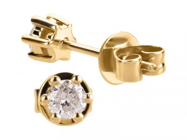 Damen-Ohrringe, DALINO 585 Gold Solitär Ohrstecker mit 0,25 ct Diamanten