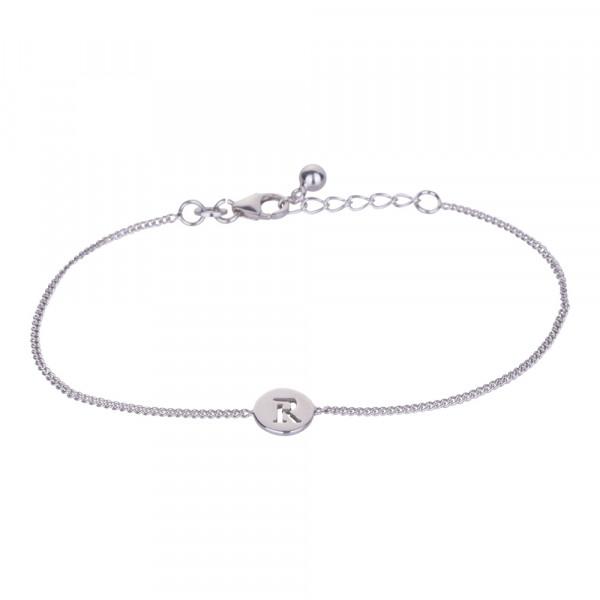 """Rhodniertes Silber Armband """"R"""" 8mm 17+2cm"""