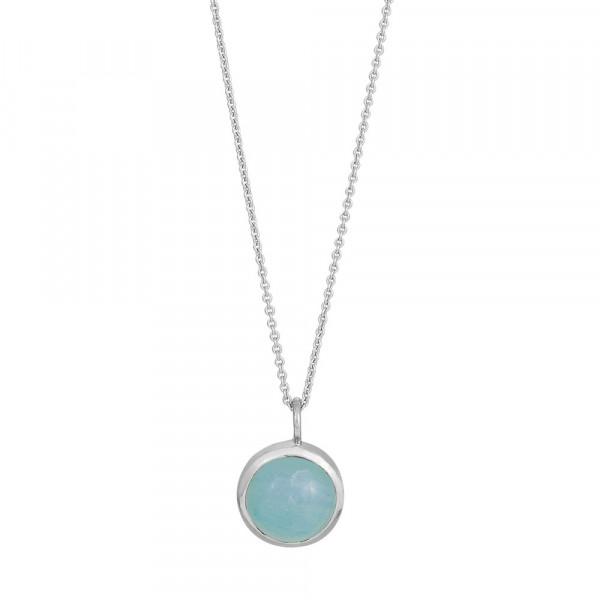 Rhd. Silber Halskette SWEETS blauer Chalzedon 11mm