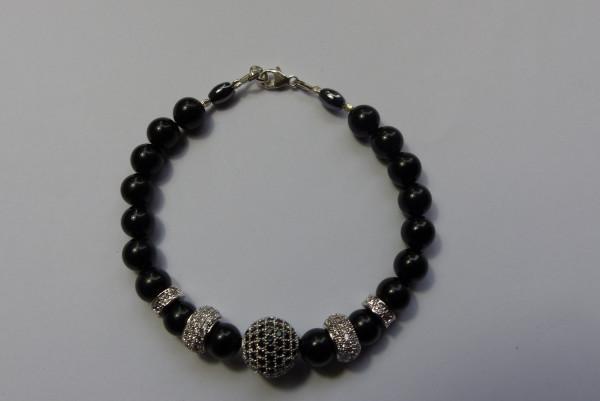 Perlenarmband Damen schwarz mit Zirkonia