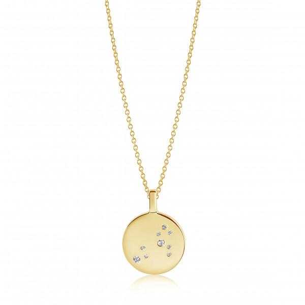 Sif Jakobs Damen Halskette Löwe Sternzeichen Zodiaco 18K vergoldet mit weißen Zirkonia
