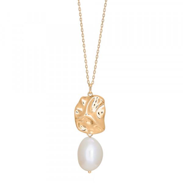 Silb. Verg. Halskette BAROQUE52 Süßwasser perlen 60+10