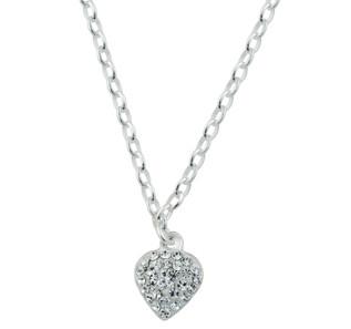 Kinderhalskette Rhodinierte Silber Halskette Herz mit Zirkonia