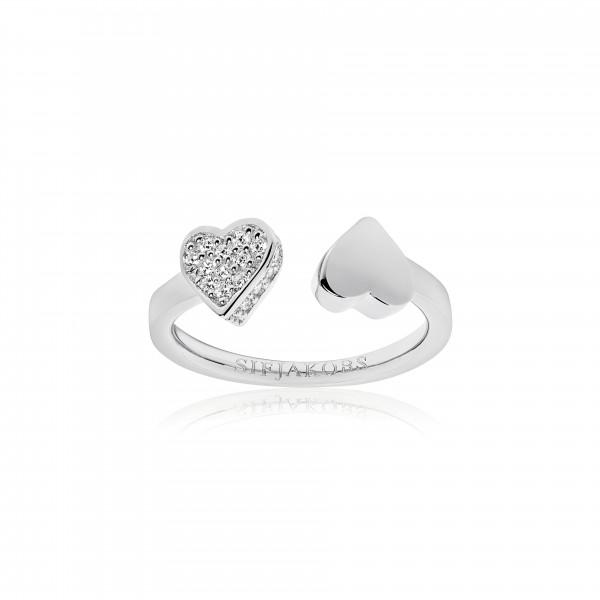 Sif Jakobs Damenring Ring Amore 925er Silber mit weißen Zirkonia Größe 52