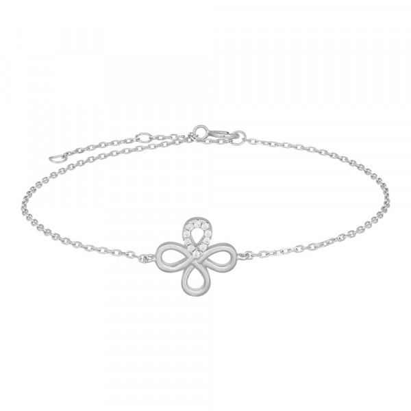 Joanli Nor Damenarmband silber Armband mit weissen Zirkona Armband DRINE Blume 846 008