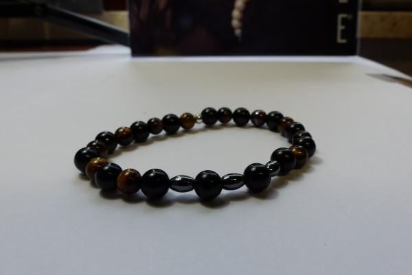 Perlenarmband schwarz/dunkelbraun Unisex Durchmesser: 6cm