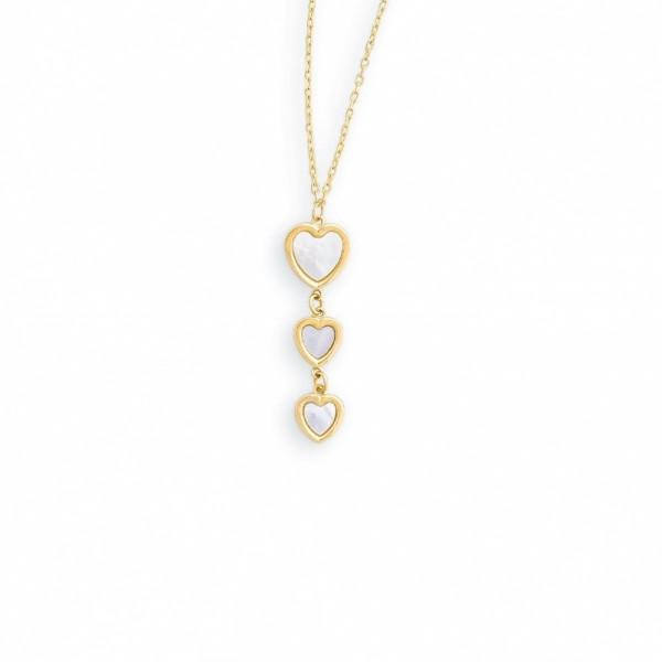Damen-Halskette, PALIDO 585 Gelbgold Collier Perlmutt 45 cm