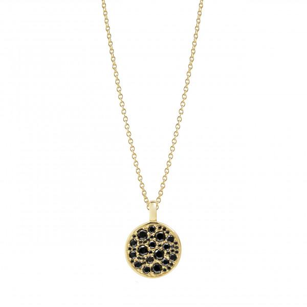 Sif Jakobs Damenhalskette Halskette Novara vergoldet mit schwarzen Zirkonia SJ-P1036