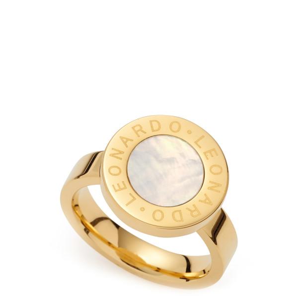 Damen-Ring, LEONARDO Edelstahl gold Perlmutt Mauritia