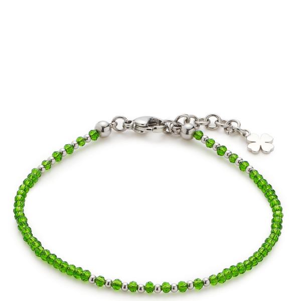 Damen-Armband,CIAO! BY LEONARDO silber grün mit Schliffglasperlen und Kleeblatt-Anhänger Pina