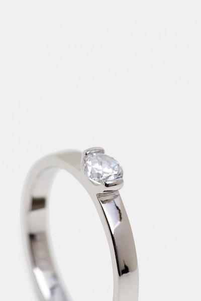 Damen-Ring, ESPRIT Sterlingsilber 925 hochglanzpoliert mit Zirkoniastein in Diamantoptik