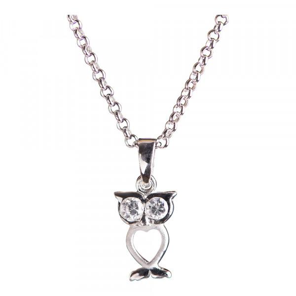 Kindehalskette Rhodinierte Silber Halskette Eule mit Zirkonia