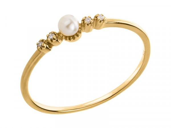 Damen-Ring, DALINO 375 Gold Perle mit 0,02 ct Diamanten