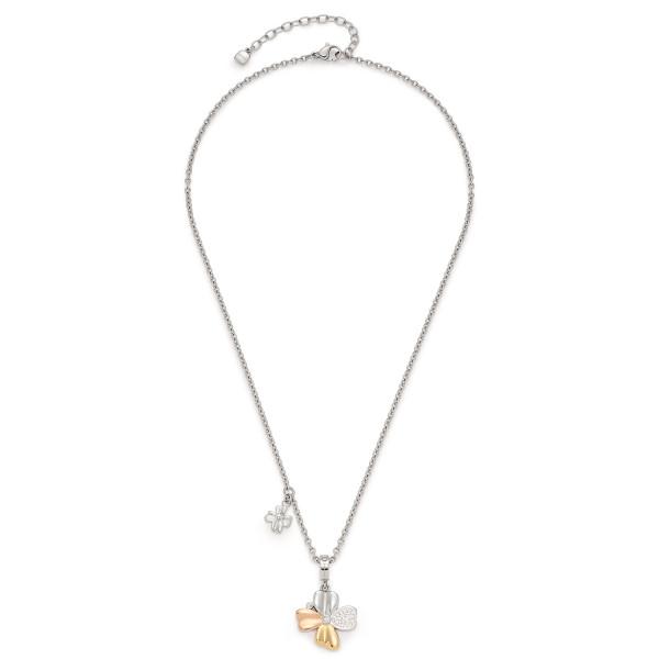 Damen-Halskette, LEONARDO Edelstahl teils gold- rosegoldfarben Zirkonia-Steinchen 42 cm Fiore
