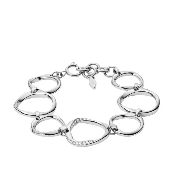 Fossil Damen Armband Twist in Silber mit Zirkonia