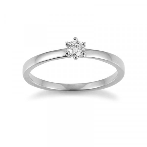 Damen-Verlobungsring, PALIDO 585 Weißgold mit 0,15 ct Brillant